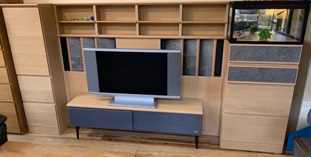 天然石を使用したナチュラル&グレーの壁面収納テレビボード入荷しました!大阪|Get箕面